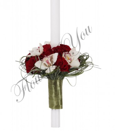 Lumanari nunta trandafiri rosii orhidee alba