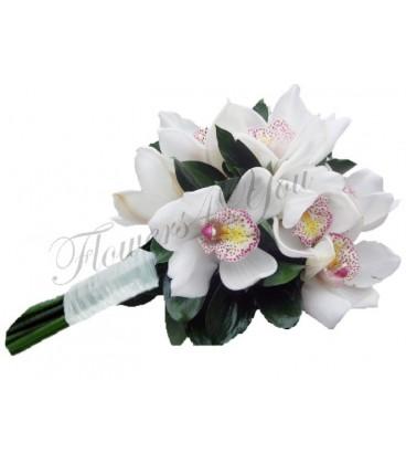Buchet mireasa orhidee alba