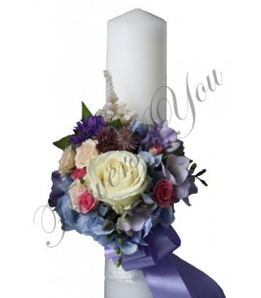 Lumanari nunta scurte hortensia trandafir