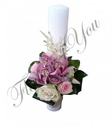 Lumanari nunta scurte orhidee trandafiri