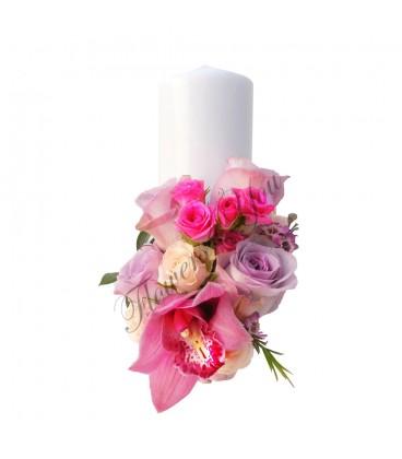 Lumanari nunta scurte trandafiri mov
