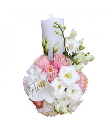Lumanari nunta scurte trandafiri lisiantus phalaenopsis
