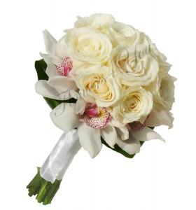 Buchet de mireasa trandafiri albi orhidee alba