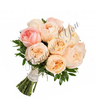 Buchete de mireasa trandafiri somon