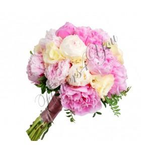 Buchete de mireasa bujori albi roz