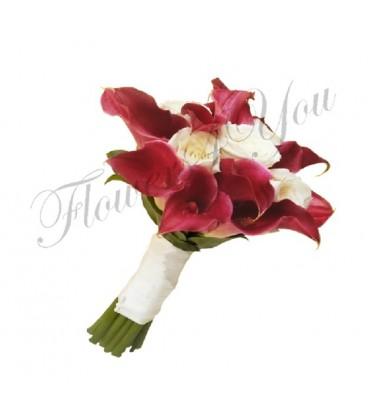 Buchet de mireasa cale grena trandafiri albi