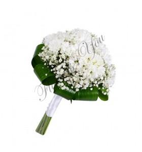 Buchete de mireasa crizantema gipsofila