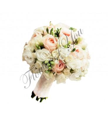 Buchete de mireasa trandafiri lisiantus alb
