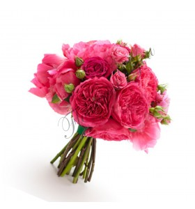 Buchete de mireasa bujori  trandafiri roz cyclam