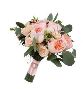 Buchete de mireasa trandafiri eucalipt