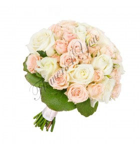 Buchete de mireasa trandafiri albi roz