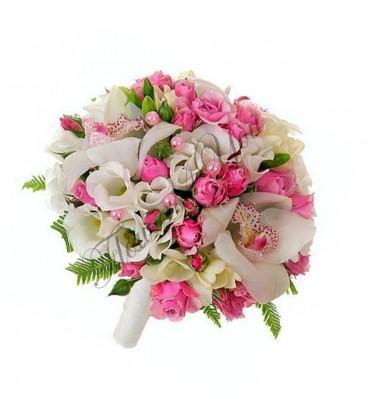 Buchete de mireasa orhidee trandafiri roz