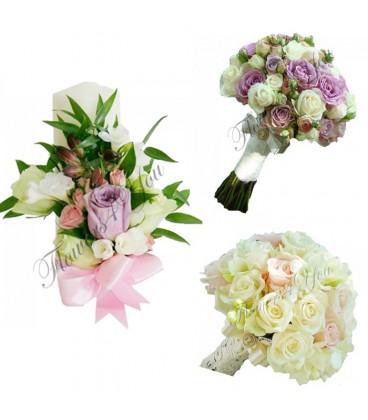 pachet nunta trandafiri lisiantus