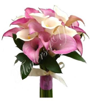 Buchet de mireasa cale albe cale roz
