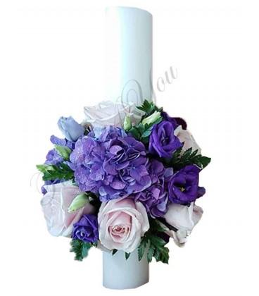 Lumanari nunta scurte hortensia trandafiri lisiantus