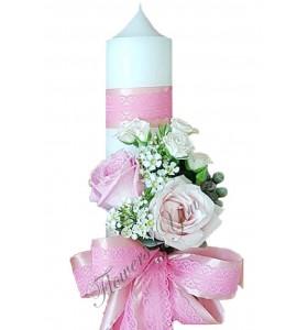 Lumanari nunta scurte mini albi trandafiri