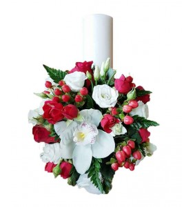 Lumanari nunta scurte mini trandafiri orhidee
