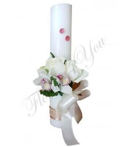 Lumanari nunta scurte orhidee alba trandafiri