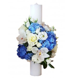 Lumanari nunta scurte orhidee hortensia albastra