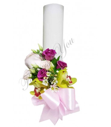 Lumanari nunta scurte orhidee verde trandafiri