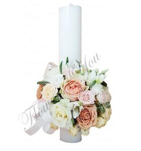 Lumanari nunta scurte trandafiri somon