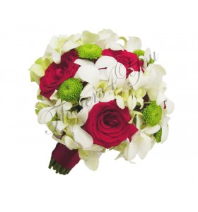 Buchet de mireasa dendrobium santini trandafiri grena