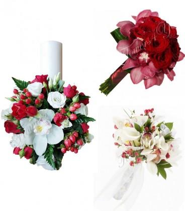Pachete nunta lumanari si buchete trandafiri si orhidee frezii.