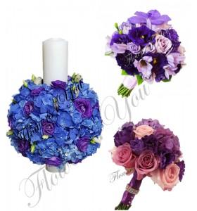 Pachet nunta lumanari buchete trandafiri si orhidee frezii.