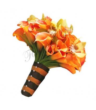Buchet de mireasa cale mango orhidee galbena