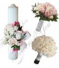 Pachete lumanari  buchete nunta trandafiri roz