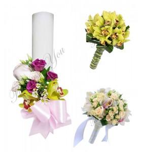 Pachete lumanari  buchete nunta orhidee verde