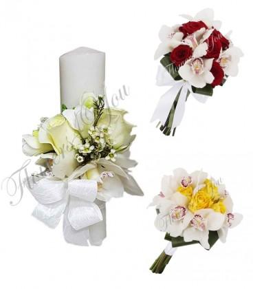 Pachete lumanari  buchete nunta orhidee