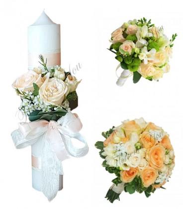 Pachete lumanari  buchete nunta trandafiri somon