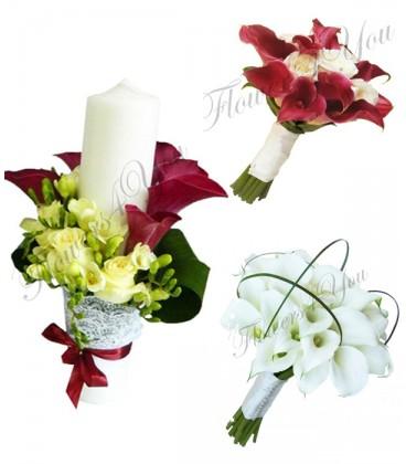 Pachete lumanari nunta scurte cale trandafiri frezii