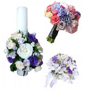 Pachet lumanari nunta ieftine trandafiri