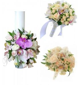 Pachet lumanari nunta ieftine trandafiri somon.