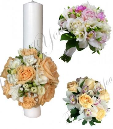 Pachete nunta trandafiri somon orhidee