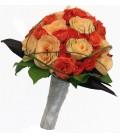 Buchet de mireasa miniroza corai trandafiri somon