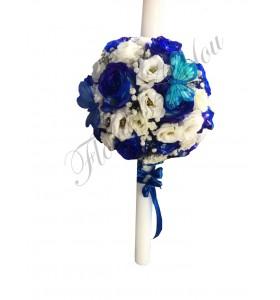 Lumanari botez baieti trandafiri albastri
