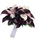 Buchet de mireasa cale negre cale albe orhidee alba