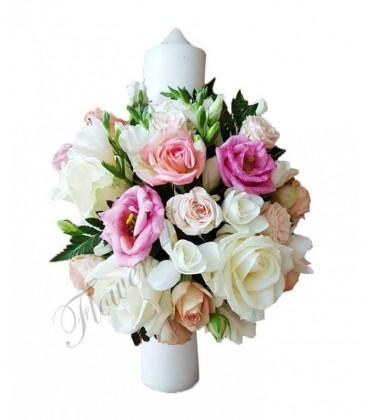 Lumanari botez frezii albe trandafiri