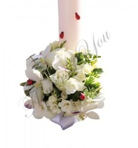 Lumanari botez frezii trandafiri albi