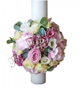 Lumanari botez hortensia roz trandafiri roz