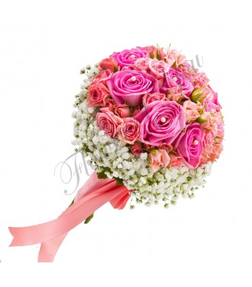 Buchete mireasa gipsofila trandafiri