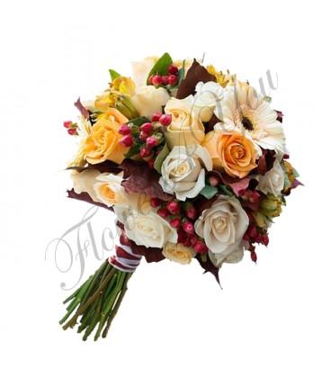 Buchete mireasa hipericum trandafiri
