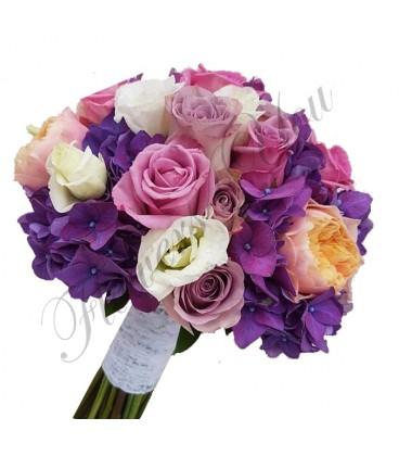Buchete mireasa hortensia mov lisiantus trandafiri mov