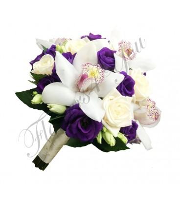 Buchete mireasa lisiantus mov orhidee alba trandafiri