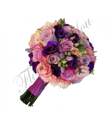 Buchete mireasa lisiantus roz trandafiri mov