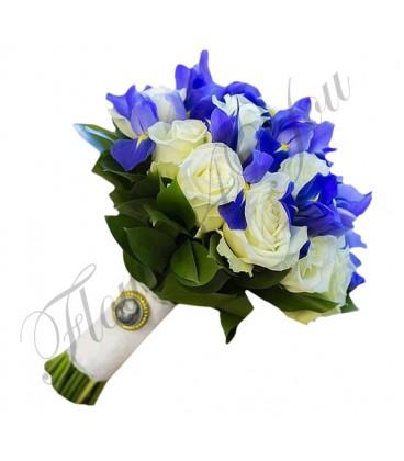 Buchete mireasa trandafiri albi iris