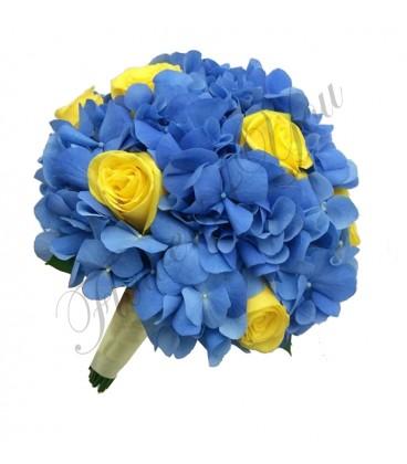 Buchete mireasa trandafiri galbeni hortensia